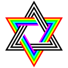 Six Stripe Hexagram Black White and Rainbow